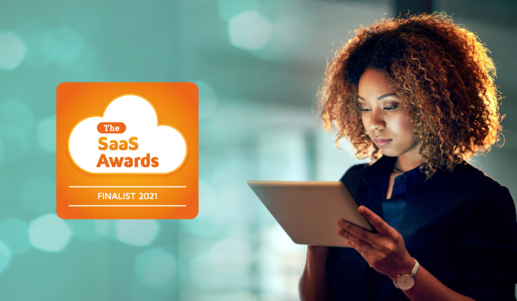 woman on tablet device with icon stating: The SaaS Awards, Finalist 2021