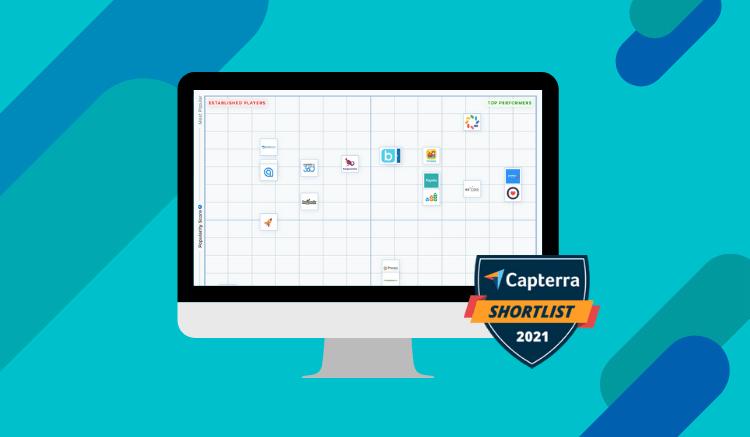 capterra award on computer screen