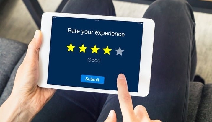 View of iPad with Online Review On Screen
